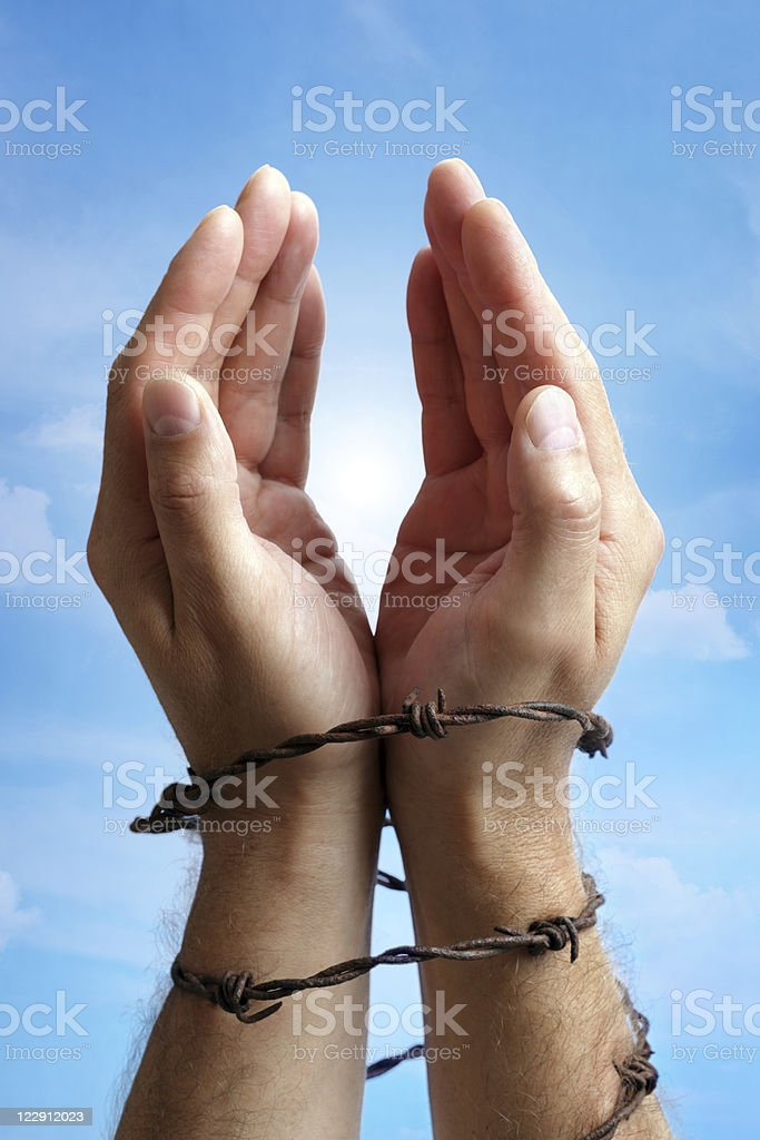 Hands tied with barbed wire royalty-free stock photo
