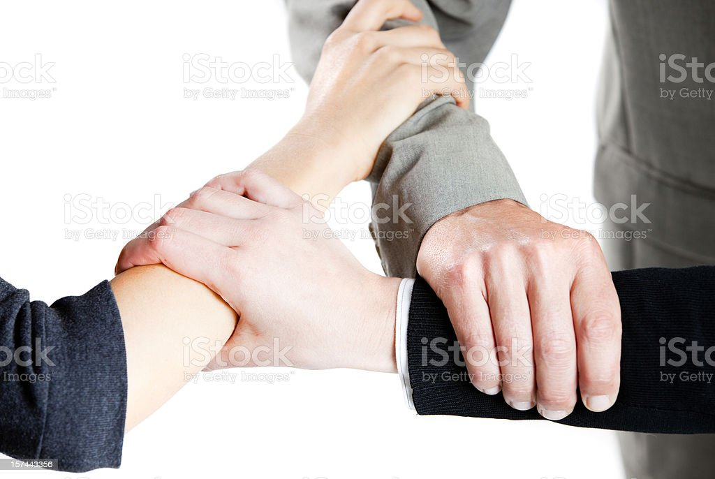 Hands together, isolated on white background royalty-free stock photo