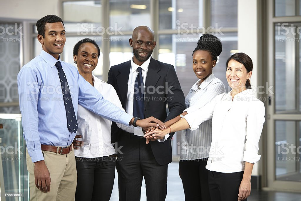 Hands together team! royalty-free stock photo