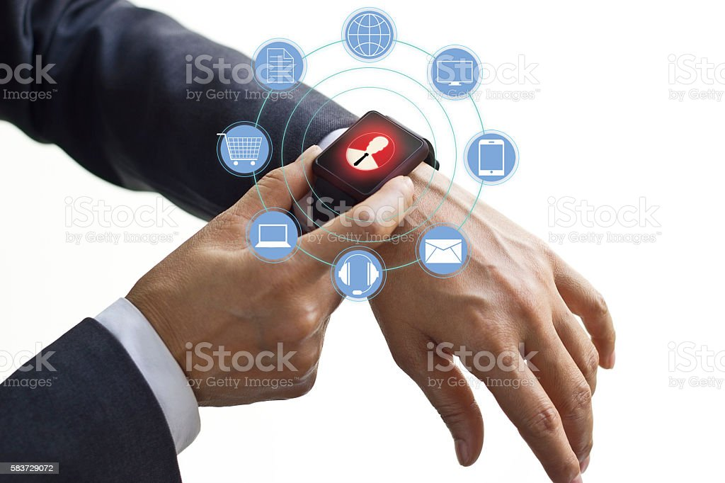 Hands touch icon customer network connection on watch stock photo