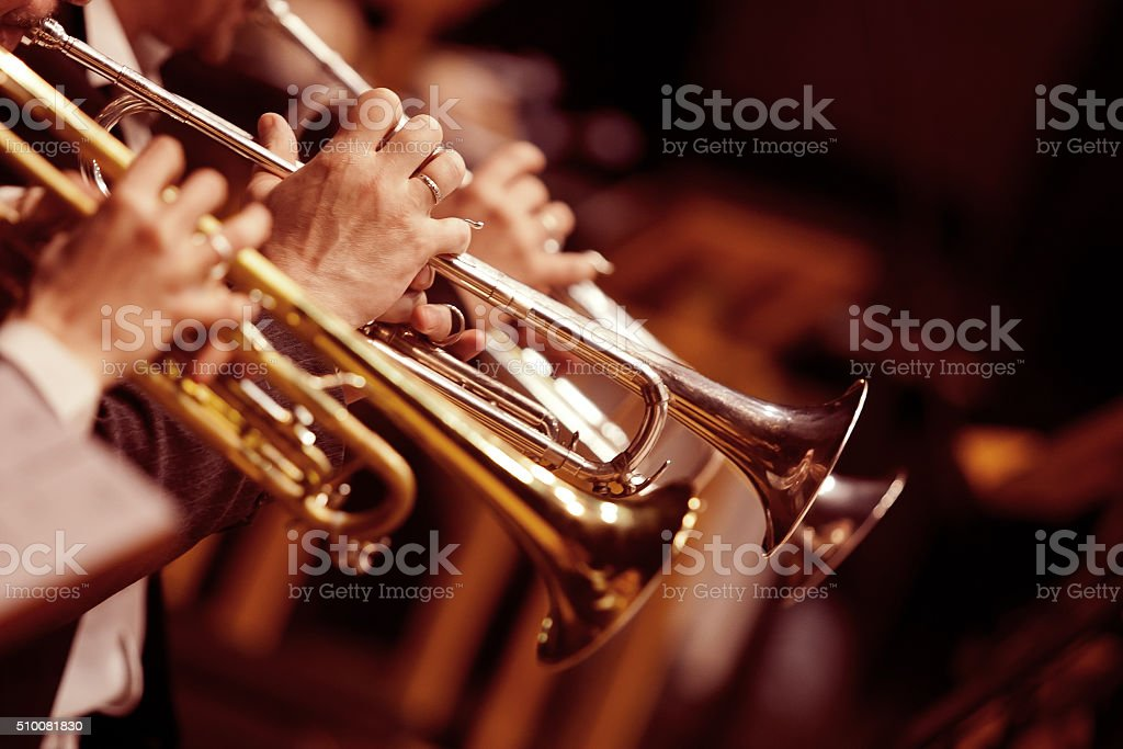 Hands trumpeters stock photo