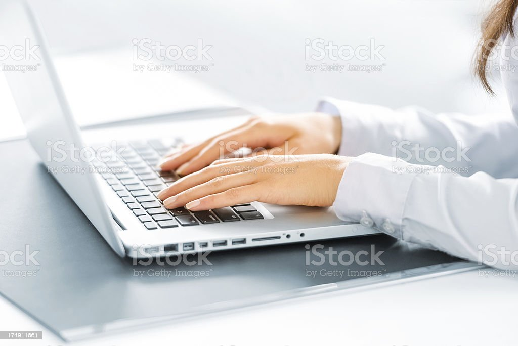 Hands Typing on computer royalty-free stock photo