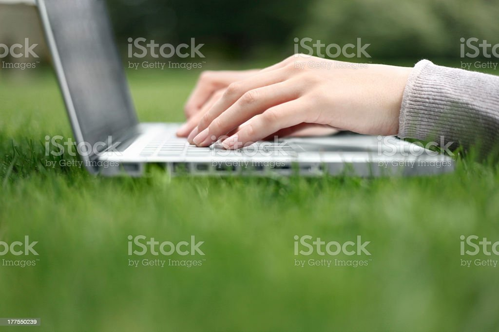 Hands typing on laptop in the grass royalty-free stock photo