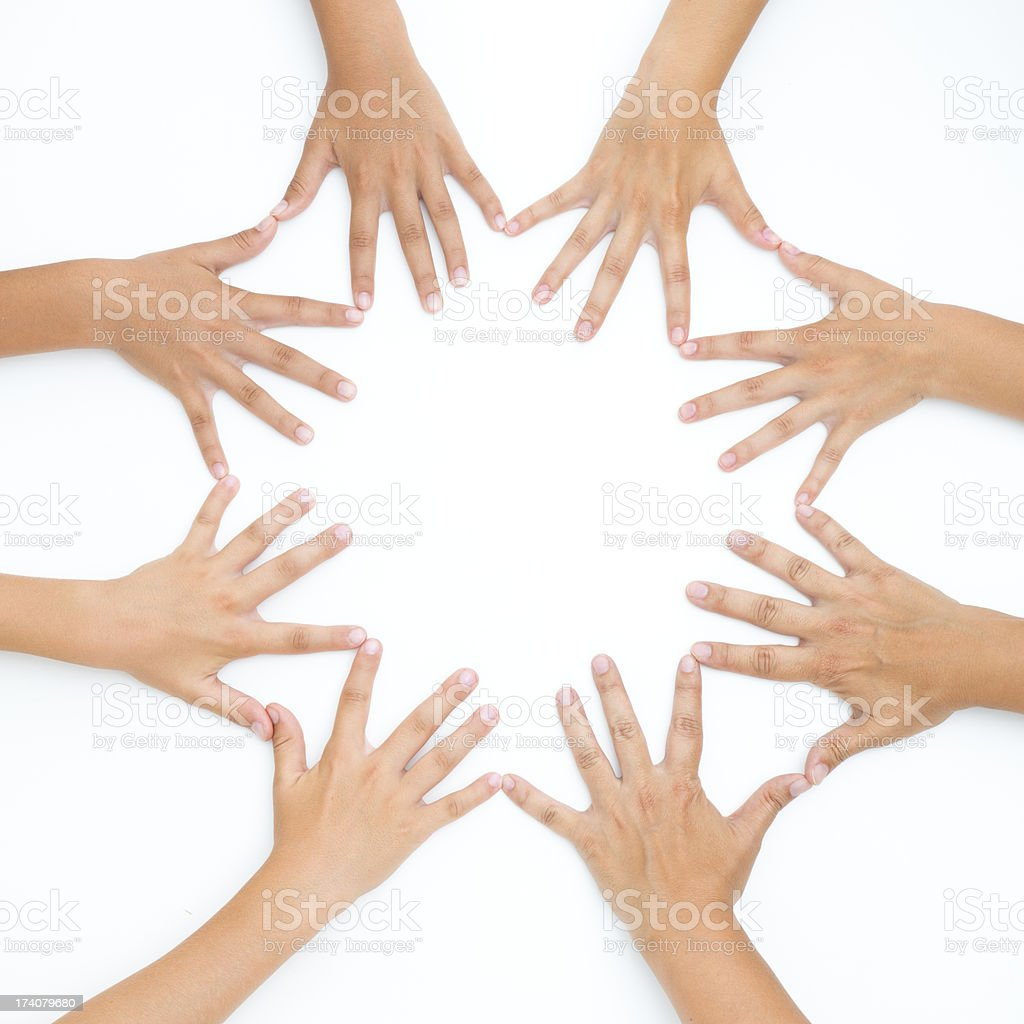 Hands united for teamwork stock photo