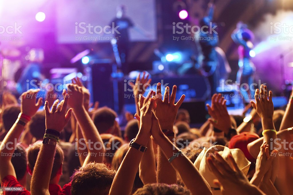 Hands up at the concert stock photo