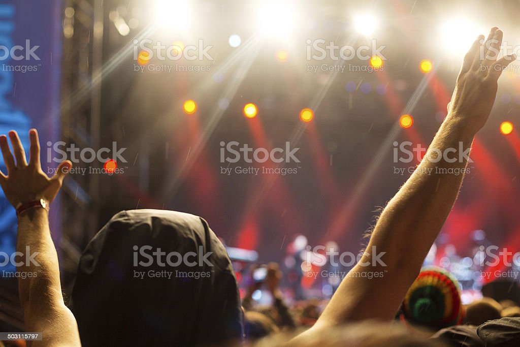 Hands up at the concert royalty-free stock photo