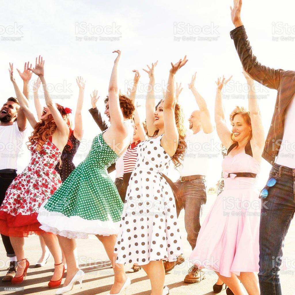 Hands Up Dancers - Fifties High School Graduation Dance stock photo