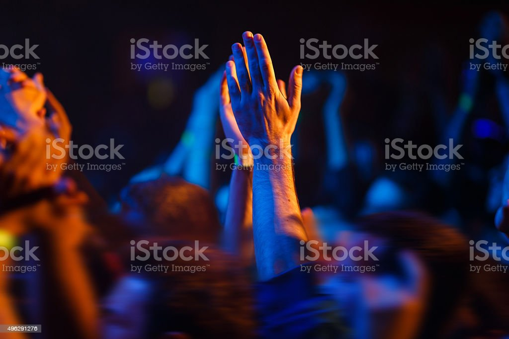 Hands up on a concert stock photo