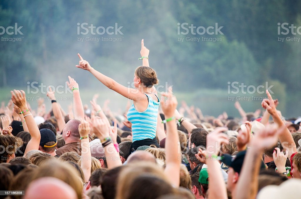 hands up - rock festival stock photo