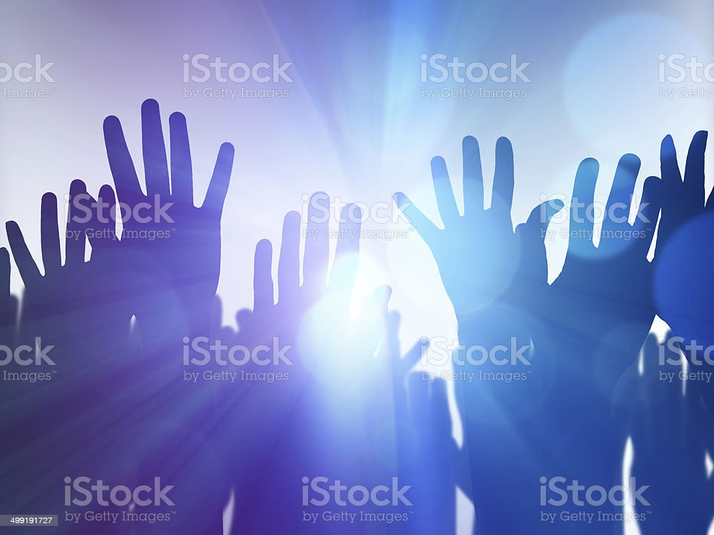 Hands up silhouette stock photo