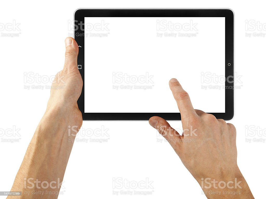 Hands using a tablet with a blank white screen on white royalty-free stock photo