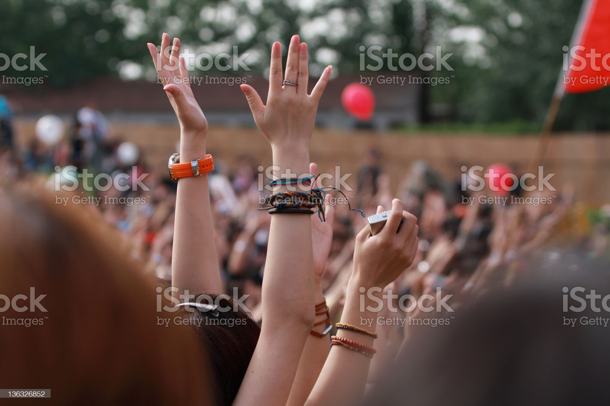 hands waving on the music festival royalty-free stock photo