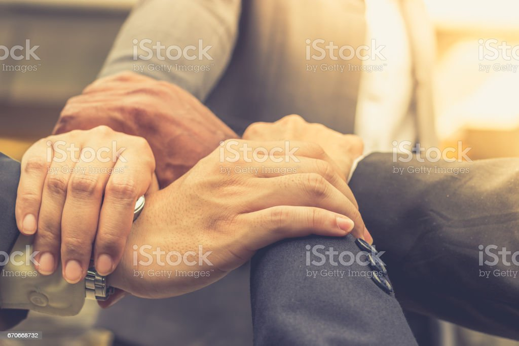 Hands were a collaboration concept of teamwork stock photo
