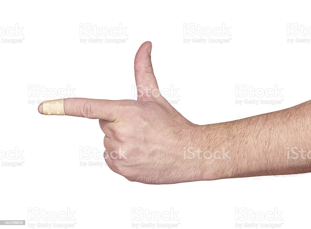 hands with band-aid adesive  plaster royalty-free stock photo