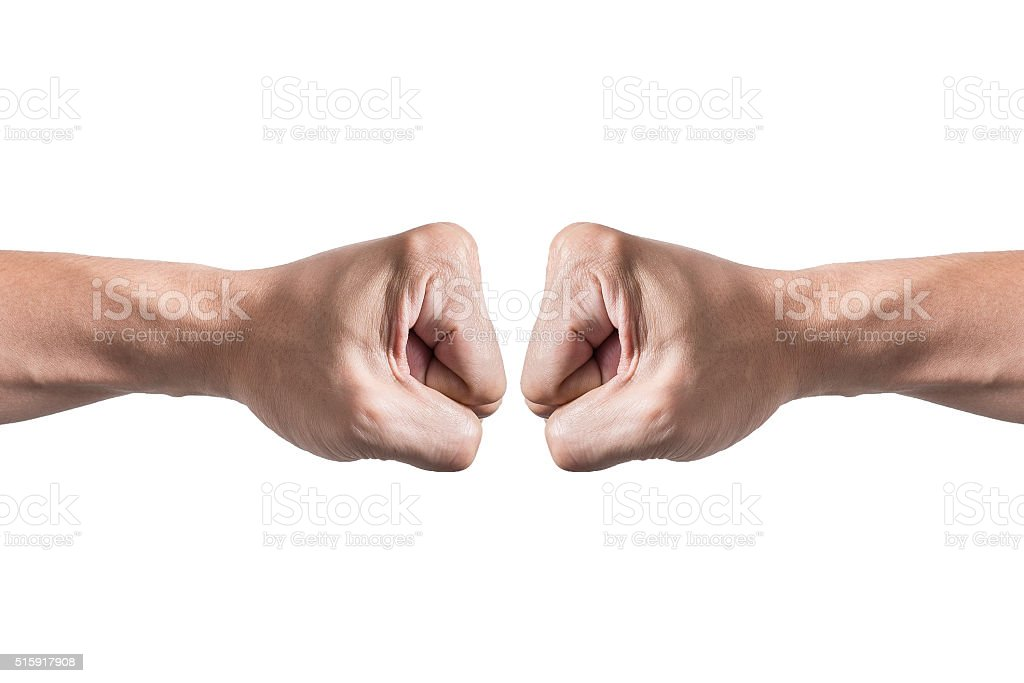 Hands with clenched a fist, isolated white background stock photo