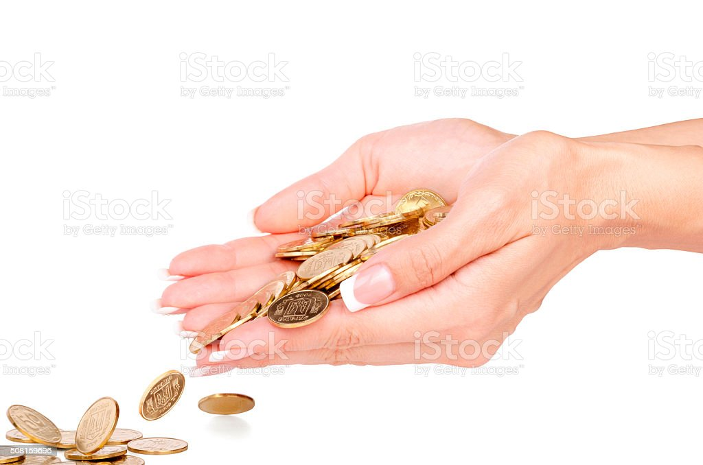 Hands with coins isolated on white stock photo