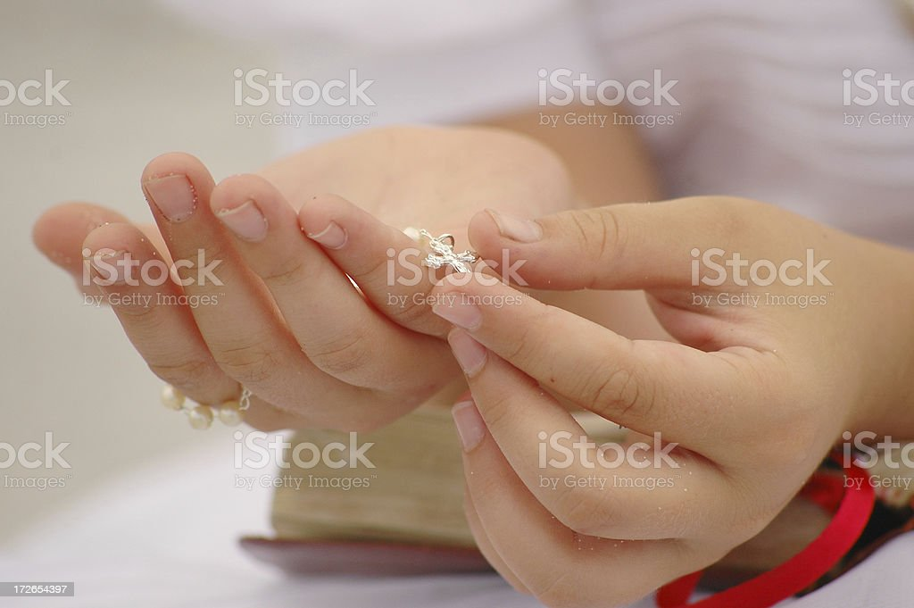 hands with cross stock photo
