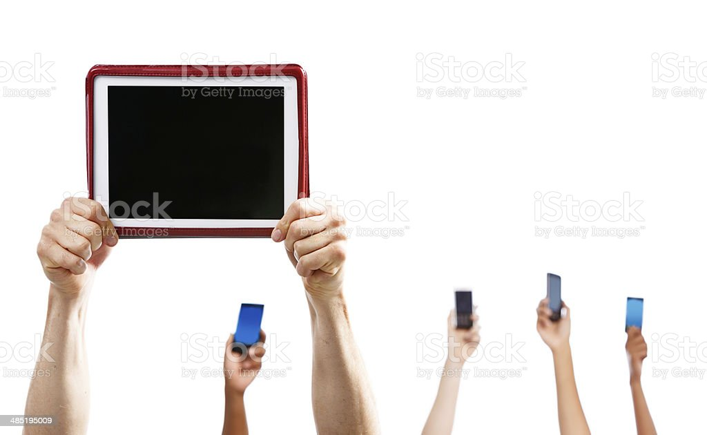 Hands with digital tablet, cellphones, Isolated on white. stock photo