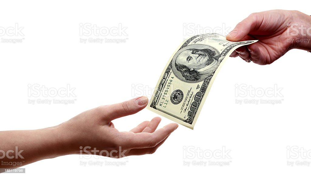 Hands with Dollars stock photo