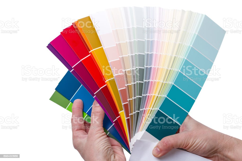 Hands with Examples of colors stock photo