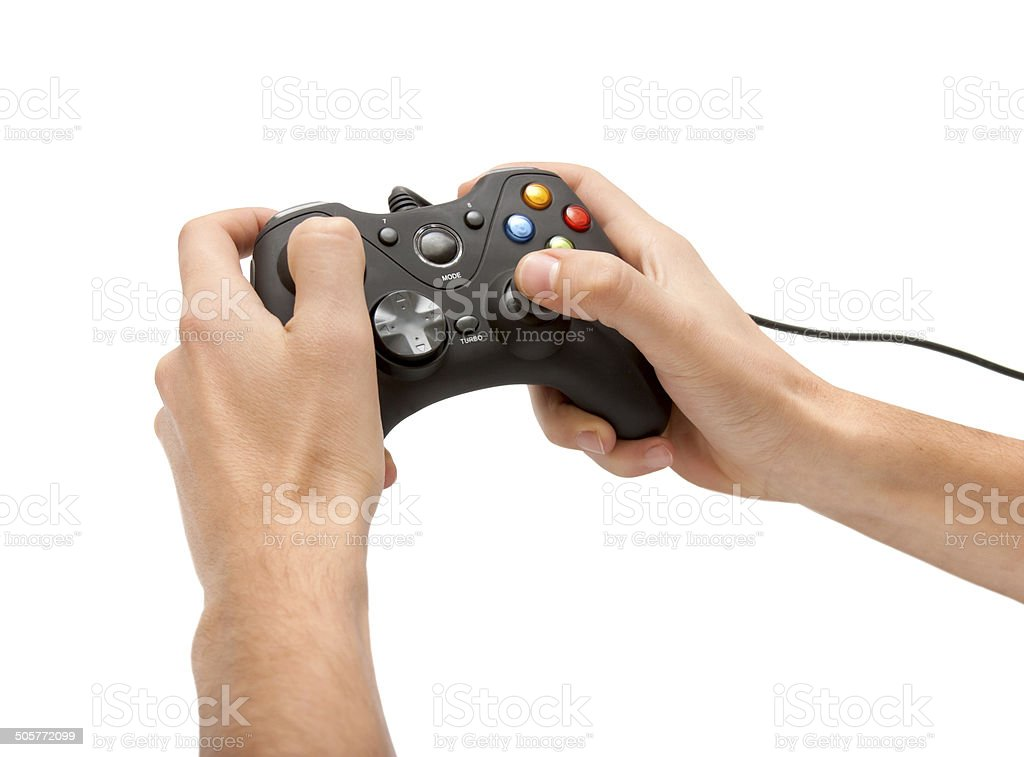 Hands with gamepad isoated stock photo