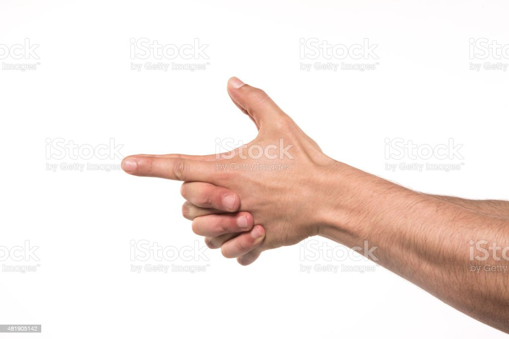 Hands with Gun Sign stock photo