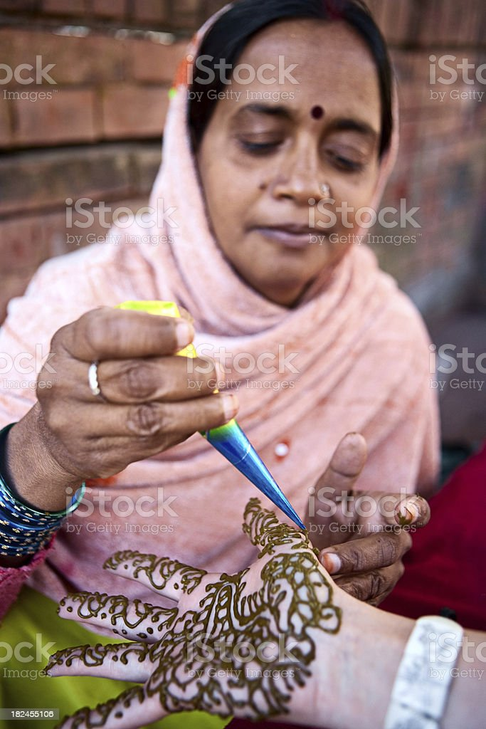 Hands with henna - mehndi royalty-free stock photo