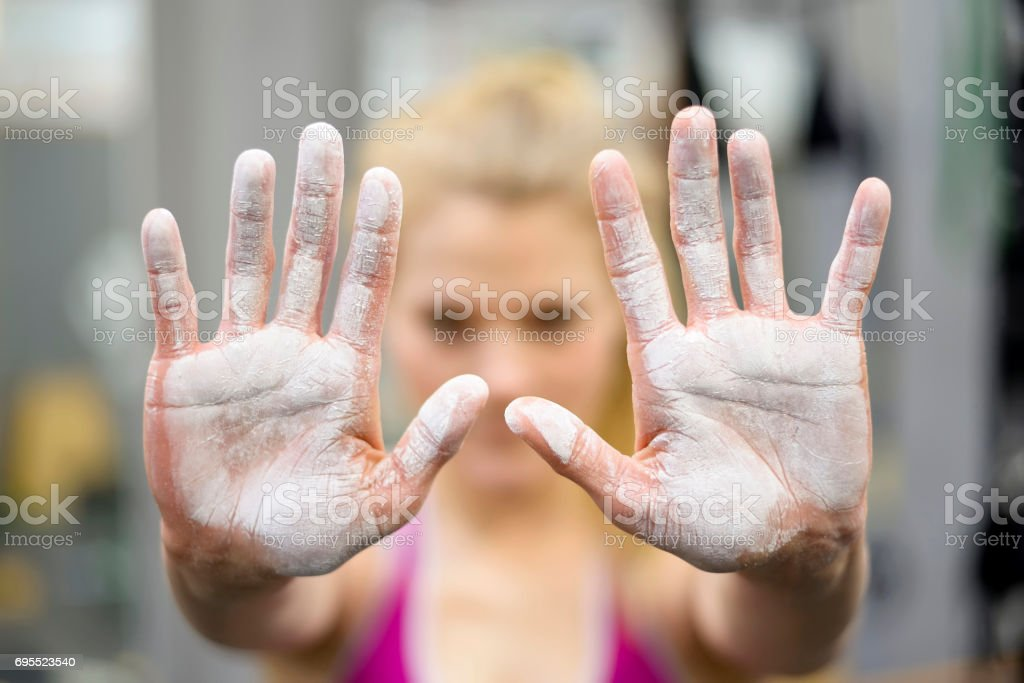 hands with magnesia stock photo