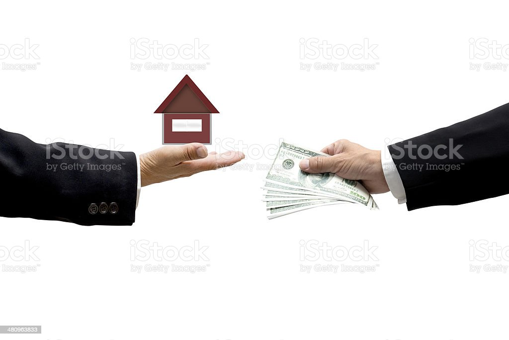 Hands with money and house as business abstract royalty-free stock photo
