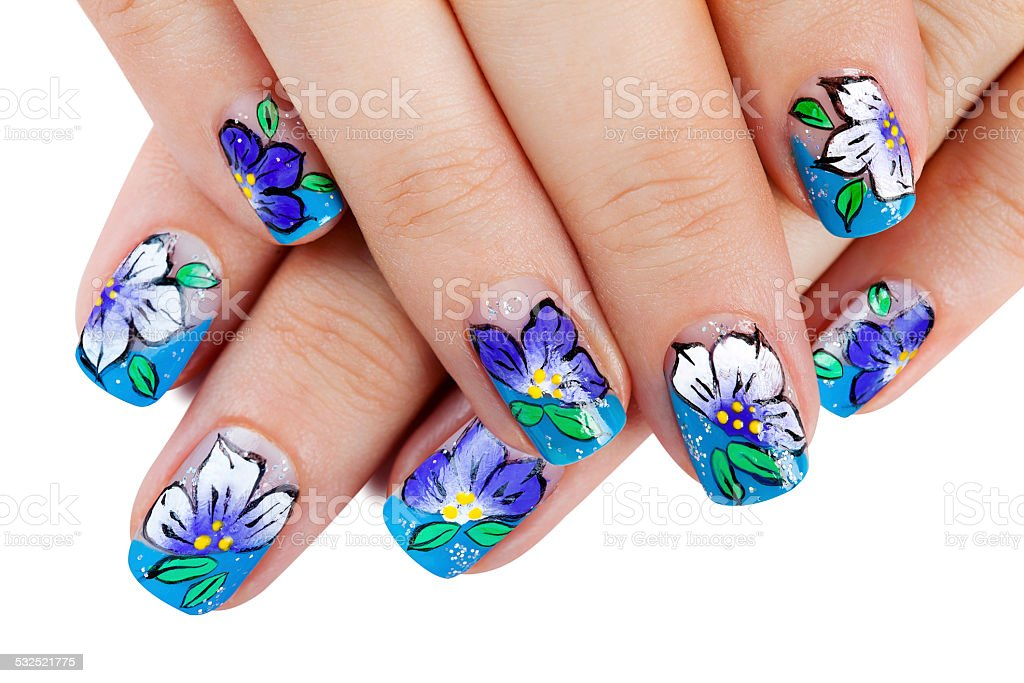 Hands with nail art stock photo