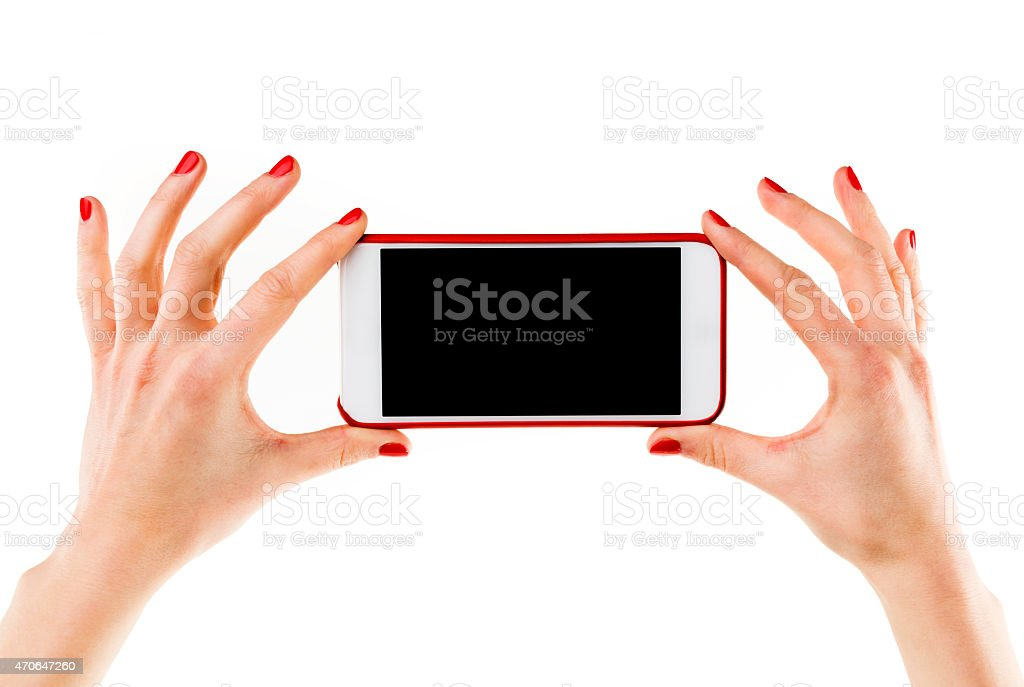 Hands with phone stock photo