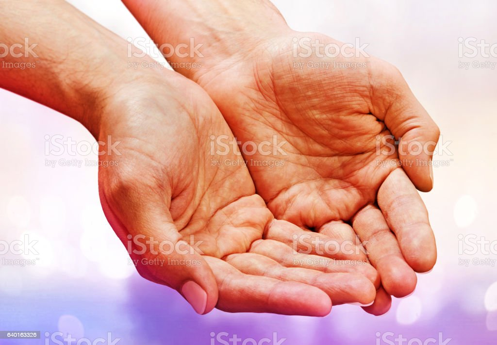 hands with skin crease stock photo