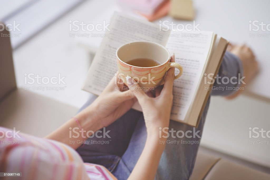 Hands with teacup stock photo