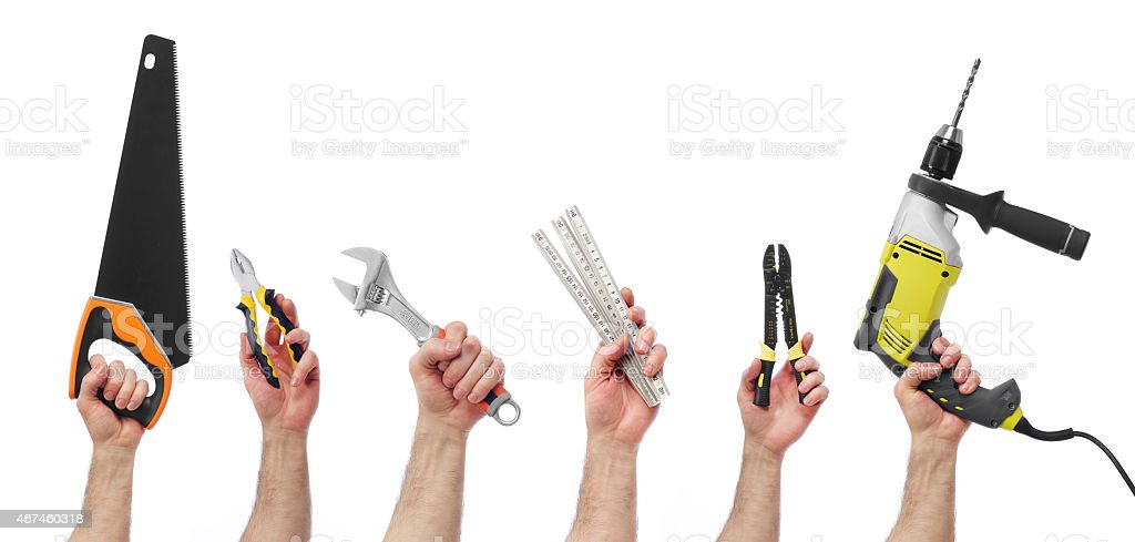 Hands with tools stock photo