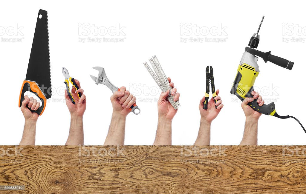 Hands with tools with copy space stock photo
