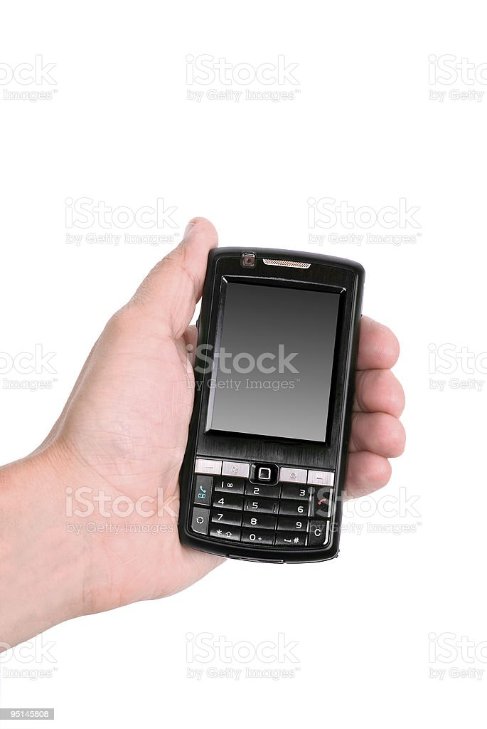 Hands working on a mobile telephone stock photo