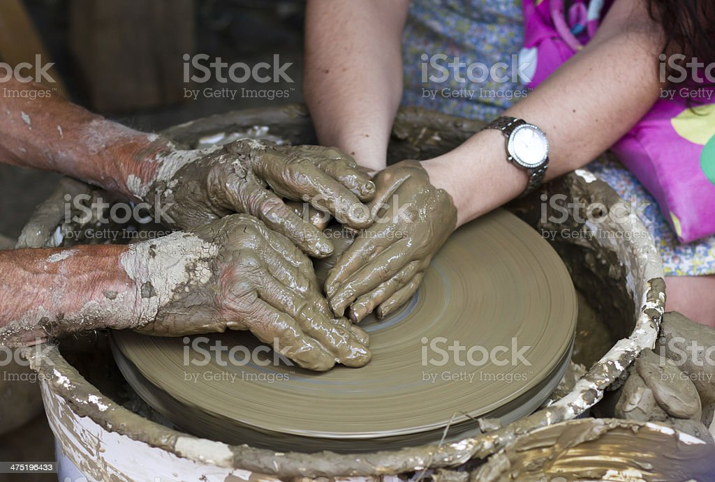 Hands working on pottery wheel , close up royalty-free stock photo