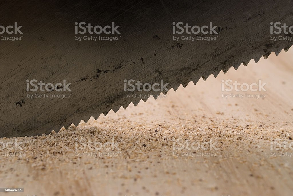 Handsaw Cutting Wood. royalty-free stock photo