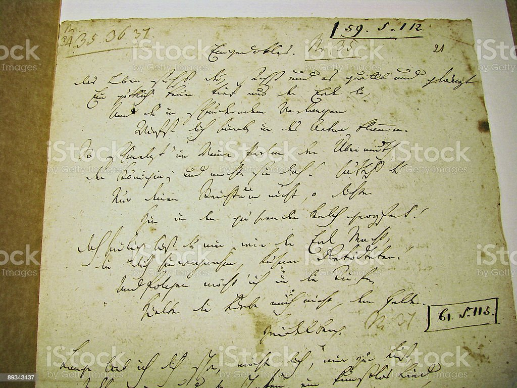 Handscript - Friedrich Hoelderlin, German Poet stock photo