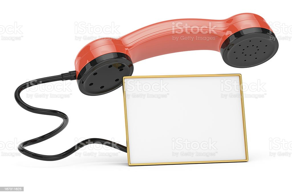 handset with blank calling card royalty-free stock photo