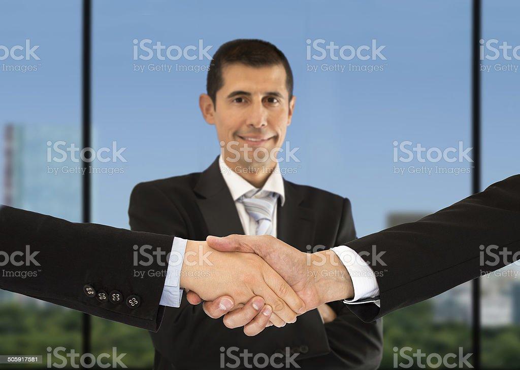 handshake and portrain stock photo