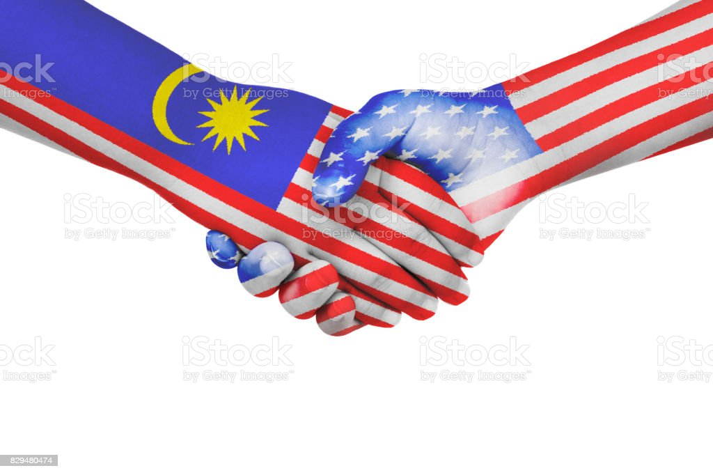 Handshake between Malaysia and United States of America stock photo