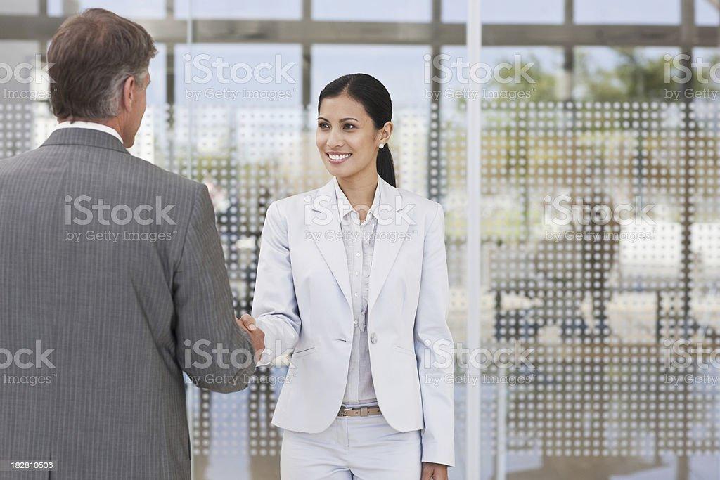 Handshake Between Two Business Colleagues stock photo