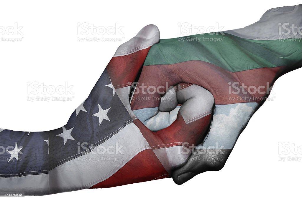 Handshake between United States and Bulgaria stock photo
