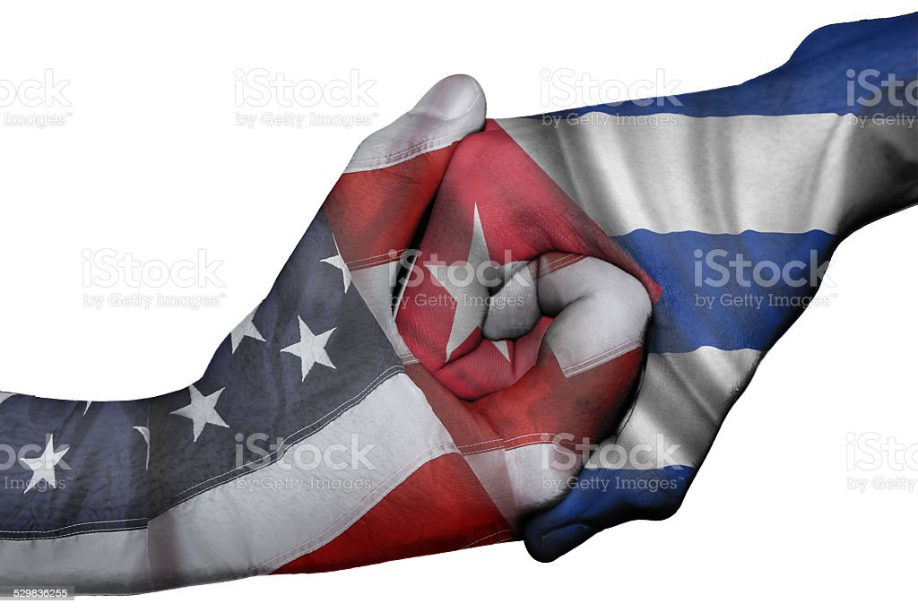 Handshake between United States and Cuba stock photo