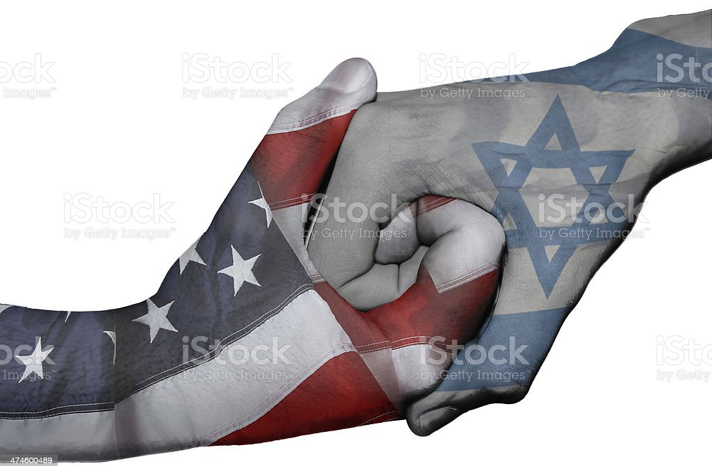 Handshake between United States and Israel stock photo
