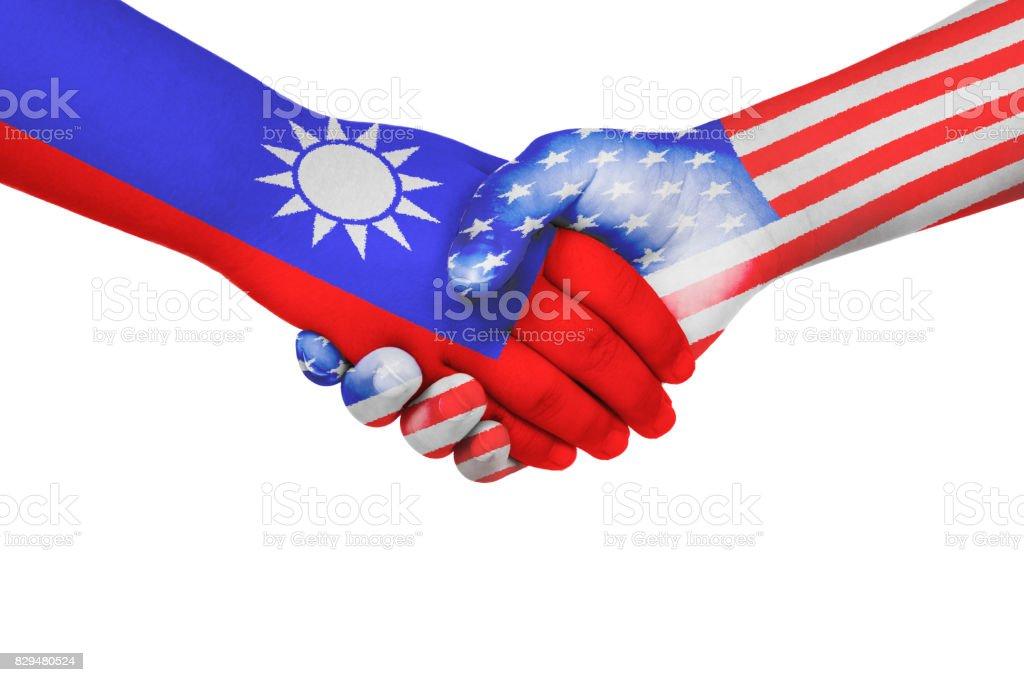 Handshake between United States of America and Taiwan stock photo
