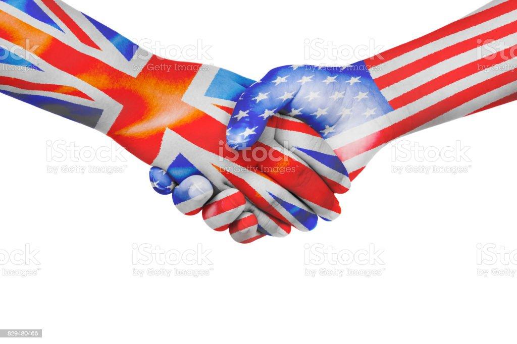 Handshake between United States of America and United Kingdom stock photo