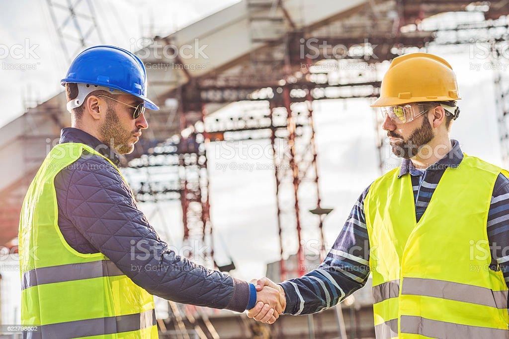 Handshake for successful project accomplishment stock photo