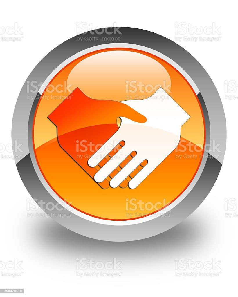 Handshake icon glossy orange round button stock photo